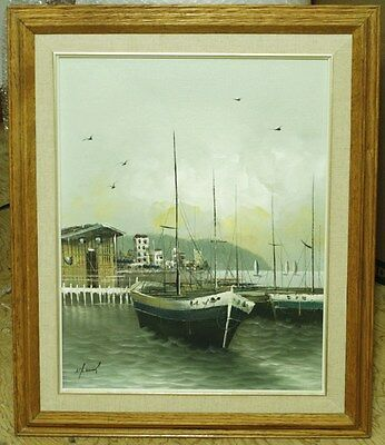 Original Vintage Oil Painting On Canvas - Signed - Sailboat At Harbour/Pier