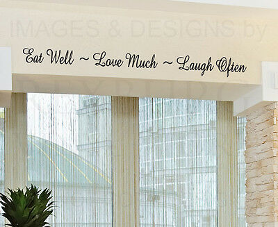 Wall Decal Quote Sticker Vinyl Lettering Eat Well Love and Laugh Kitchen KI27