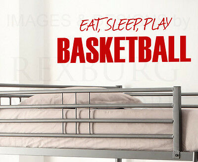 Wall Decal Sticker Quote Vinyl Eat Sleep Play Basketball Boy's Sports Room S12