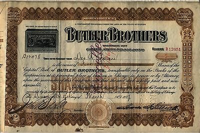 Butler Brothers Stock Certificate Illinois