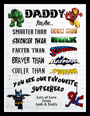 DADDY GIFT FATHERS DAD UNCLE GRANDAD Birthday Personalised Present Art Print