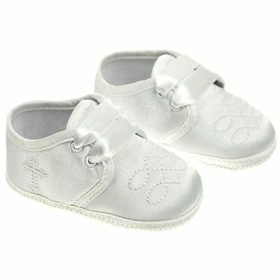 Baby Boy Pre-Walker White Satin Christening soft Bootee with embroided cross