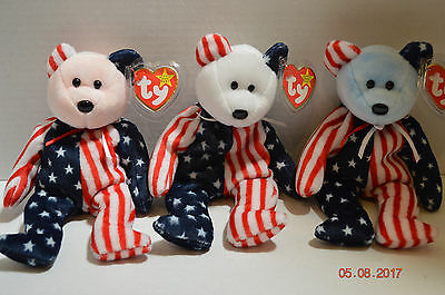 Ty Beanie Baby~#4245~Spangle 3 Bears~Red White Blue~5th Generation~Good Tag~SP