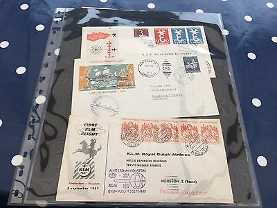 Netherlands 6 different first flight KLM covers first day covers