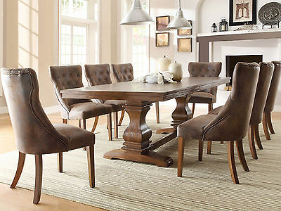 COOPER-9pcs Traditional Brown Rectangular Dining Room Table Chairs Set Furniture