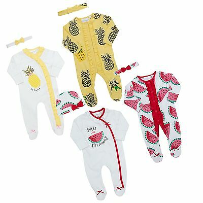 Pack of 1 or 2 Baby Girls Cute Sleepsuit Novelty Babygrow Bodysuit Playsuit Twin