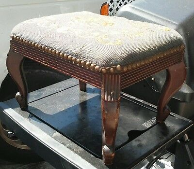 Antique 1930's solid mahogany needlepoint ottoman/footstool