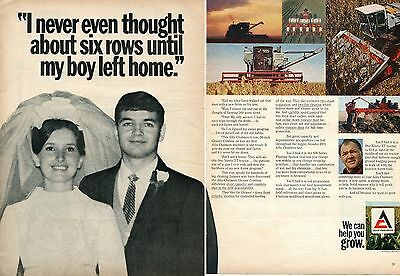 1970 2 Page Print Ad of Allis Chalmers AC One Ninety XT Tractor Gleaner Combine