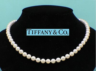 Tiffany & Co Pearl Strand Necklace 18K Yellow Gold Clasp  6.5Mm-7Mm