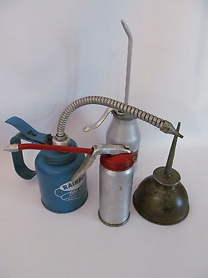 Lot of 4  Small Vintage Oilers Thumb Press Pump  Oil Cans