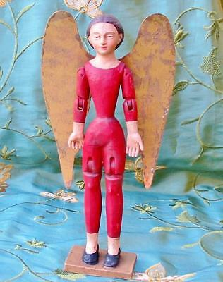 Cody Foster Small Red Santos Angel Christmas Wood Tin Wings 9 inches