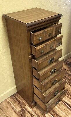 Antique Vintage Signed American Walnut Wood Traditional 7 Drawer Lingerie Chest