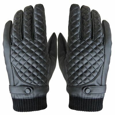 HOOYEE Winter Mens PU Leather Gloves Touch Screen Gloves Outdoor Cycling Motorcy