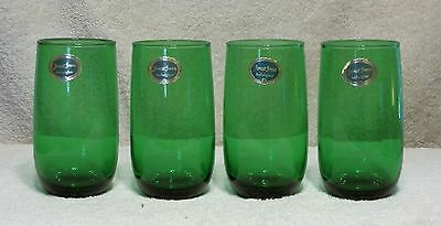 Anchor Hocking Roly Poly Forest Green 13 Oz 5 Inch Flat Iced Tea Glasses W/Tags