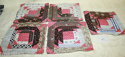 "LOT/5 Primitive Civil War Era Quilt Blocks 7.5"" Hand Foundation Pieced Cotton #7"