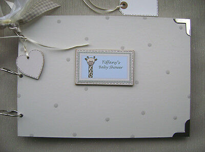 PERSONALISED. BABY SHOWER.blue  A4 SIZE.PHOTO ALBUM/SCRAPBOOK/MEMORY BOOK.