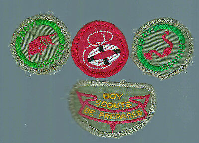 4 X Scout Badges Assorted Including Surf Life Saving Badge