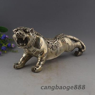 Collectible Decorated Silver Plate Copper Carved Big Tiger Walk Statue