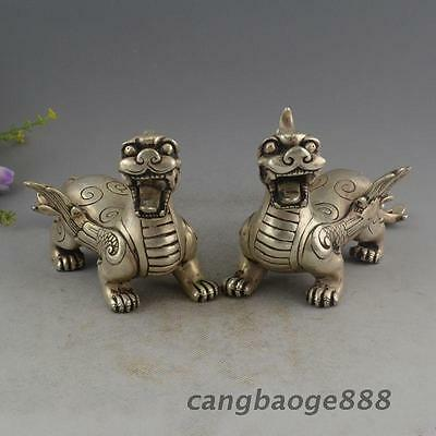 China Silver Wealth PiXiu Phylactery Guardian Beast Brave Troops Statue Pair