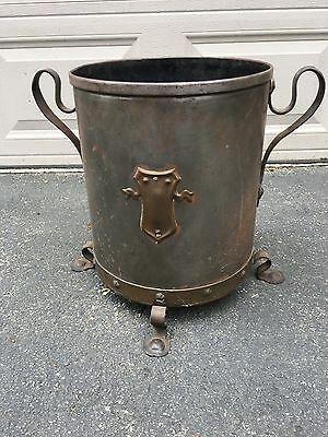 Large EDWARDIAN Metal / Iron Footed COAL BUCKET with Handles / Shield