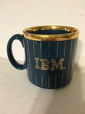 IBM Advertising Coffee Mug Navy Blue with Gold Letters & Stripes Made in England