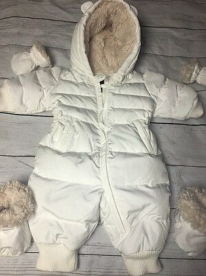 Baby Gap Unisex Ivory Down Sherpa Lined Baby Bunting Bear Ears 0-6 Months EUC