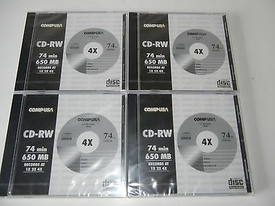 LOT 4 COMPUSA Blank Recordable/Rewriteable media CD-RW 74min 650mb new and seal