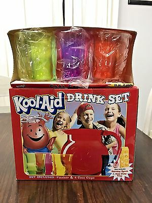 VINTAGE KOOL AID DRINK SET - PITCHER, 4 CUPS, SPOON, TRAY + 6 12oz COOL CUPS NOS