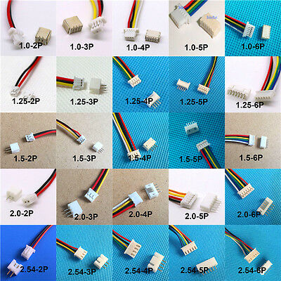 10x Mini Micro jst SH1.0 JST GH1.25  PH2.0 XH2.5 Connector plug w/  Wires Cables