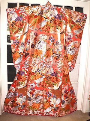 Stunning Old Japanese Wedding Kimono w/Embroidered Cranes and Flowers