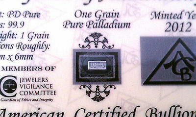 x5 ACB PD SOLID Palladium BULLION MINTED 1GRAIN BAR 999 Pure W/ Certificate ! ^
