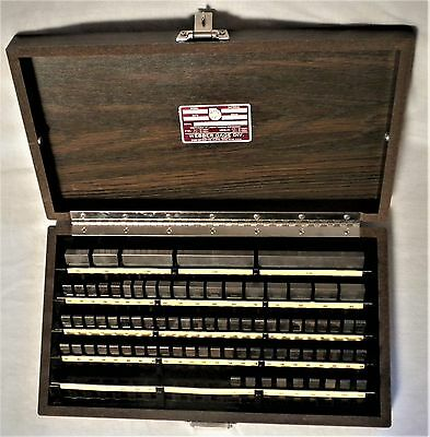 "STARRETT WEBER STEEL GAGE BLOCK SET W/ CASE GRADE 2 COMPLETE RS81A1 3/8"" to 4"""