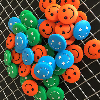 5pcs Cute Colorful Smile Face Design Silica Gel Tennis Racket Shock Absorber