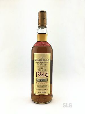 The Macallan 52 year old 1946 Select Reserve Whisky 700ml. 40%alc VERY RARE!!