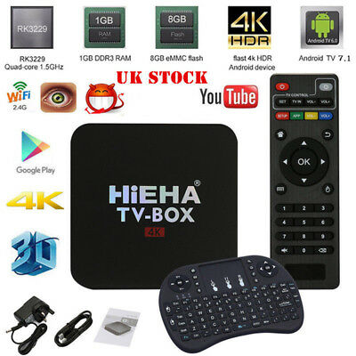 2017 Quad Core 4K Android 7.1 Smart TV Box KD 17.3 WIFI Media Player W/ Keyboard