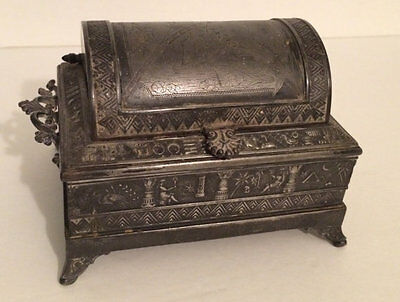 Antique Egyptian Silver Jewelry Box Casket Arched Top