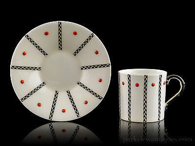 Royal Worcester Art Deco Coffee Can/Cup and Saucer C.1919