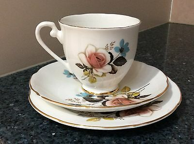Royal Grafton Rose Cup, Saucer & Side Plate Trio Made in England