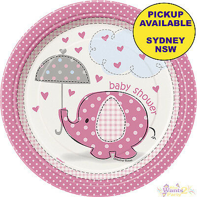 PINK ELEPHANT UMBRELLA GIRLS BABY SHOWER PARTY SUPPLIES 8pk SMALL PAPER PLATES