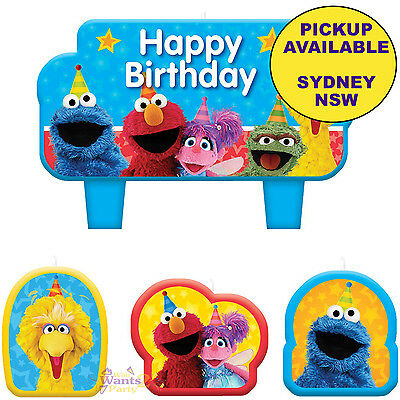 Sesame Street Party Supplies 4 Mini Birthday Cake Candles Topper Decorations Set