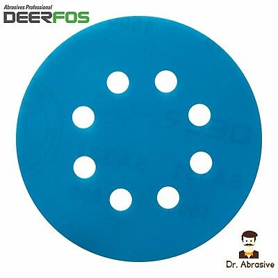 "125mm Wet and Dry Sanding Discs 5"" Sandpaper Pad Film 8 Hole Grit 40-3000 VAT"