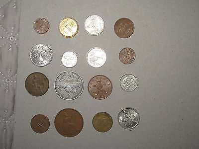 16 world coins  uk  nz france Bahamas and others as listed  (3d)