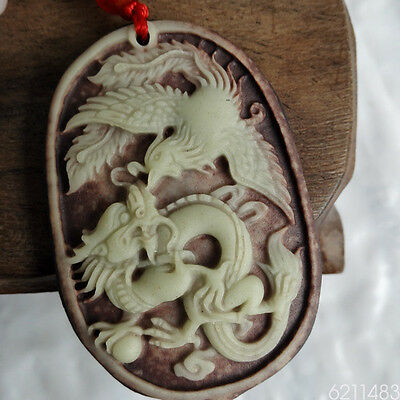 Chinese ZiPaoYu Purple Jade Carved Dragon Phoenix Lucky Pendant +fine Necklace#5
