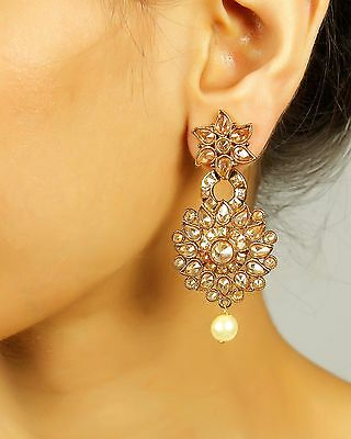7308 Indian Designer Jewelry Gold Plated Wedding Wear Traditional Polki Earring