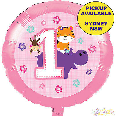 JUNGLE ANIMALS GIRLS 1ST BIRTHDAY PARTY SUPPLIES 45cm FOIL BALLOON DECORATIONS