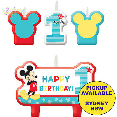 MICKEY MOUSE 1ST BIRTHDAY PARTY SUPPLIES 4pc CAKE CANDLES SET TOPPERS DECORATION