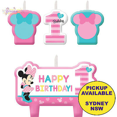 MINNIE MOUSE 1ST BIRTHDAY PARTY SUPPLIES 4pc CAKE CANDLES SET TOPPERS DECORATION