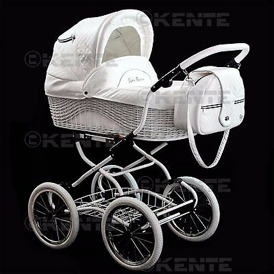 Travel system classic look pram white eco-leather pumped wheels 14 inch kente 01