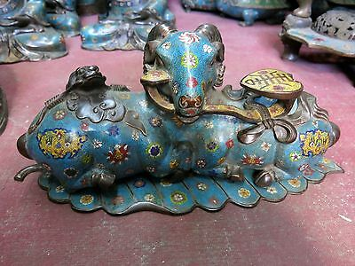 China luck pure copper Cloisonne fine longevity Sheep Leaf as one wishes statue