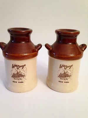 NANCO Brown Milk Jugs Lake George New York Mini-Ha-Ha Salt & Pepper Shakers